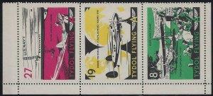 Tide Water Tydol Flying Strip of 3 #8,19,27 Cinderella Poster Stamp Planes MNH