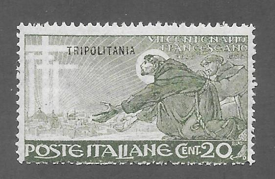 Tripolitania Scott 20 Mint 20c O/P St. Fransis of Assisi stamp 2015 CV $2.40