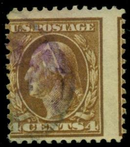 US #503 4¢ brown, large PERF SHIFT, used