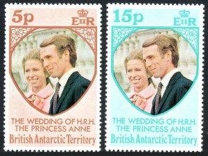 British Antarctic Territory 60-61,MNH.Royal wedding.Princess Anne,Phillips,1973