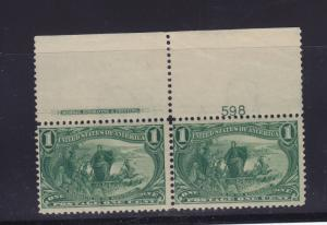 285 Plate # pair F-VF OG never hinged  nice color scv $ 160 ! see pic !