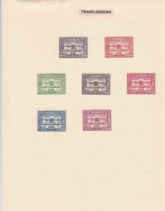 trans jordan mounted mint stamps on album page ref r8563