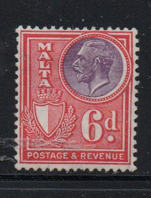 Malta Sc 176 1930 6d red & violet George V stamp mint