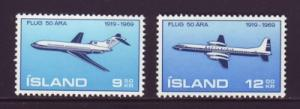 Iceland Sc 410-1 1969  Airplanes stamps mint NH