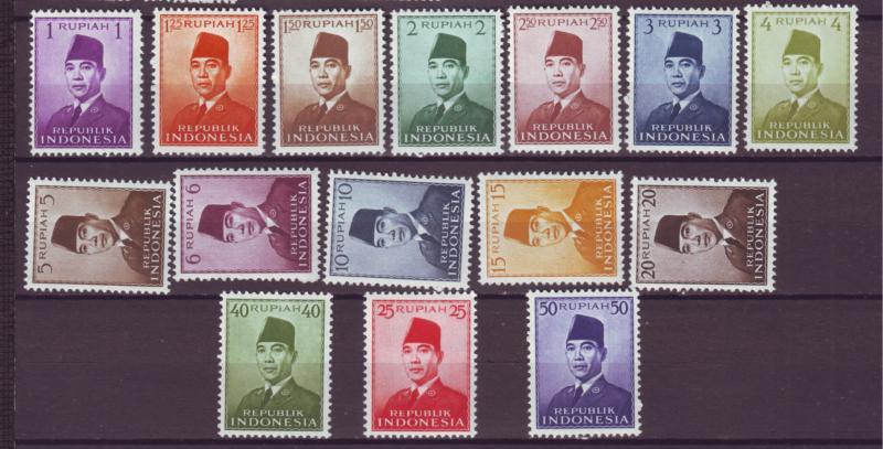 J21022 Jlstamps 1951-3 indonesia 2 sets mh/1 used  #374-86,387-400 2 scans