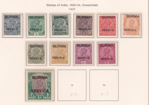 Burma # O1-11, India Stamps Overprinted for use in Burma, H & NH, 1/2 Cat
