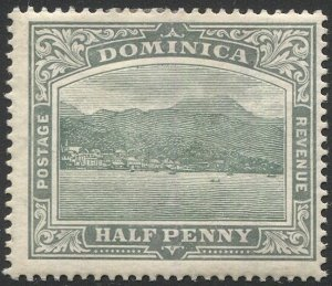 DOMINICA 1907 Sc 35 MH 1/2d Roseau View, thick yellowish paper