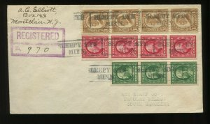 Scott 383V & 409V imperforate Flat Plate Coil Strips Stamps on 3 Color Reg Cover