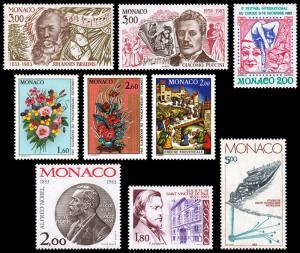 Monaco Scott 1389-1390, 1391, 1392-1393, 1394, 1395, 1396, 1397 (1983) M NH VF