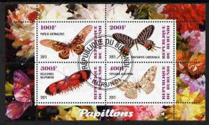 BURUNDI SHEET USED BUTTERFLIES INSECTS