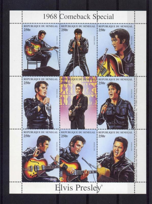 Senegal 1998 Elvis Presley 1968 Comeback Special Sheet (9) Perforated mnh.vf