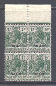 Br Honduras Scott MR1 - SG114, 1916 War Tax Block of 4 mint (see description)