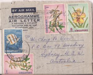 Singapore 1c bird + 20c fish + 8c flower Aerogramme to Australia w/message (bae)