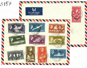 Falkland Islands SOUTH GEORGIA Covers{2} 1967 10s HIGH VALUE Seal Whale LS157