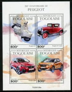 TOGO 2020  210th ANNIVERSARY OF PEUGOT SHEET MINT NEVER HINGED