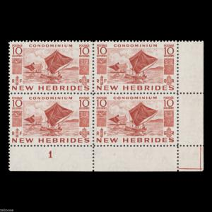 New Hebrides 1953 (MNH) 10c Outrigger Sailing Canoes plate block x 4