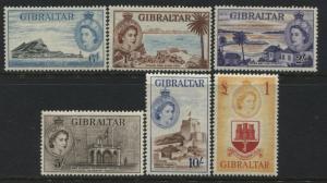 Gibraltar QEII 1953 6d to £1 mint o.g.