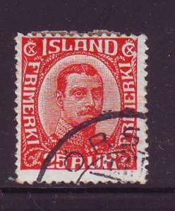 Iceland Sc 121 1921 25 aur red Christian X stamp used