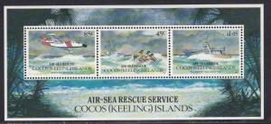 Cocos Islands # 285a, Air Sea Rescue Service, Souvenir Sheet, NH, 1/2 Cat