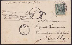 MALTA 1913 1d in circle due on postcard ex Italy............................8842