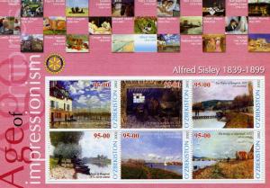UZBEKISTAN 2002 Alfred Sisley Paintings Sheet Perforated mnh.vf