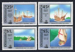 Dominica 1299-1301,1304 1st set,MNH. Discovery voyages,1991.Columbus ships