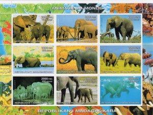 Madagascar MNH S/S Elephants Wild Animals  Large Size