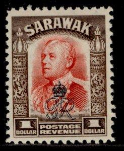 SARAWAK GVI SG162, $1 scarlet & sepia, M MINT.