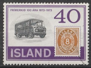 Iceland 1973 Centenary of the 1st Icelandic Postage stamps 40k (1/5) USED