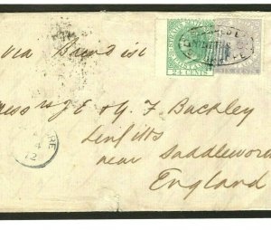 Malaya Cover SINGAPORE Forwarding Agent 1872 Letter Lancs {samwells-covers}MC39