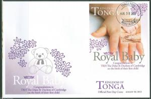 TONGA 2013 BIRTH OF PRINCE GEORGE SOUVENIR SHEET FIRST DAY COVER