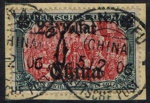 GERMAN PO IN CHINA 1905 DEUTSCHES REICH $21/2 ON 5MK NO WMK USED ON PIECE