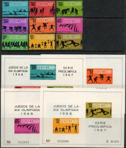MEXICO 981-985a,C328-C331a 3rd Pre-Olympic Set incl SS (1255