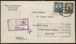 USA 1937 Registered Transatlantic Cover SS Queen Mary Munich Germany 95640