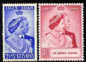 St Kitts-Nevis 1949 KG6 Royal Silver Wedding perf set of ...