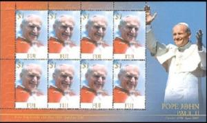 Fiji - Pope John Paul II on Stamps - 8 Stamp  Sheet 6G-001