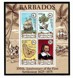 Barbados 431a MNH 1975 First Settlement Anniv S/S