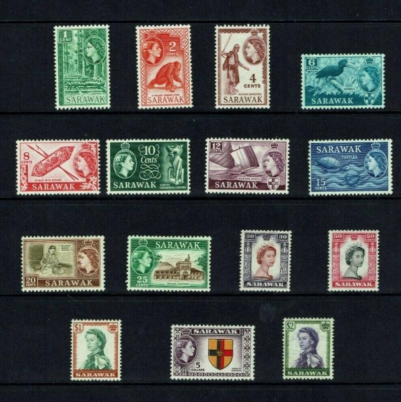 Sarawak 1955 Queen Elizabeth II definitive set, MNH