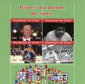Chad Sports Stamps 2020 MNH Babe Ruth Baseball Wayne Gretzky Hockey 4v M/S III