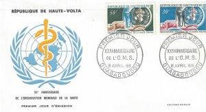 Upper Volta 188-9 FDC WHO 20th Anniversary