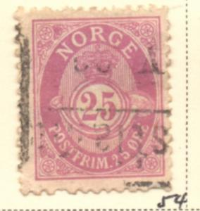 Norway Sc 54 1901 25 ore red violet Post Horn stamp used