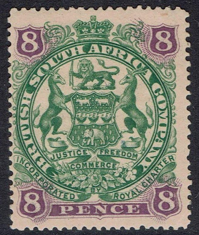 RHODESIA 1897 ARMS 8D CURLED SCROLLS