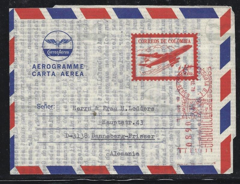COLOMBIA  (PP0308B) 1.20 AIRPLANE AEROGRAMME UPRATED METER  TO GERMANY