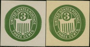 THORP #44 (2) DIFFERENT 3¢ DIE ESSAY EMBOSSED CUT SQUARE XF BP5701