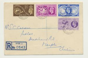 GB 1949 UPU SET ON FIRST DAY COVER REG HYDE TO CHESHIRE (SEE BELOW)