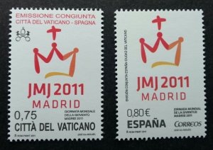 Vatican Spain Joint Issue 26th World Youth Day - Madrid 2011 (stamp pair) MNH