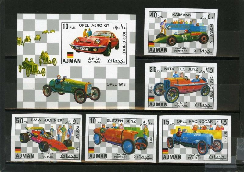 AJMAN 1971 Mi#Bl.1117-1121B,Bl.320B OLD CARS SET OF 5 STAMPS & S/S IMPERF.MNH