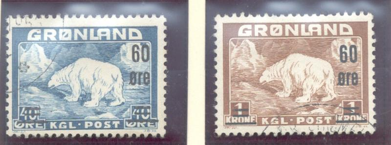 Greenland Sc 39-40 1956 Polar Bear surcharged stamps used