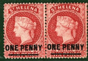 ST HELENA QV Stamps Pair{2} 1d SURCHARGE BBLUE85