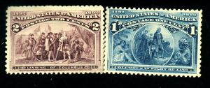 US #230-1 MINT FVF OG 230 HR 231 Regummed Cat$28
